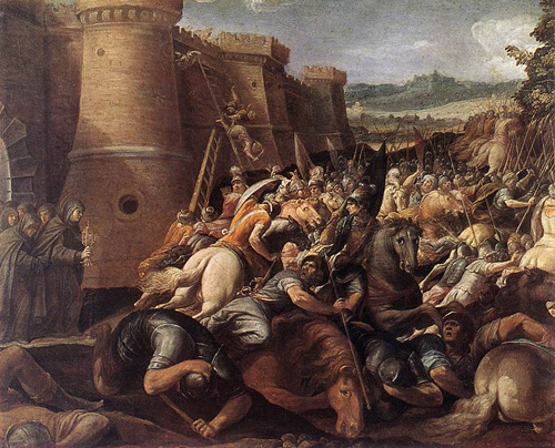 St. Clare with the Scene of the Siege of Assisi. Painted by Giuseppe Cesari