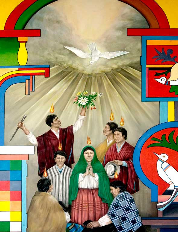 A painting at an old Franciscan convent in Copacabana, Bolivia, shows the Holy Spirit descending upon disciples in native Bolivian dress. (Photo: Octavio Duran, CNS)