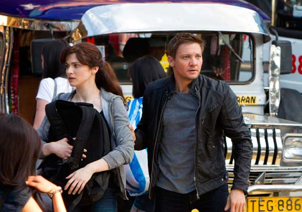 "Rachel Weisz and Jeremy Renner star in a scene from the movie ""The Bourne Legacy."""