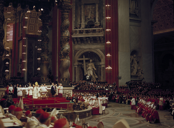 Pope Paul VI presides over a meeting of the Second Vatican Council in St. Peter's Basilica at the Vatican in this undated photo. Pope Benedict XVI will mark the 50th anniversary of the Oct. 11, 1962 opening of the council and kick off the Year of Faith with a Mass in St Peter's Square. (CNS photo/Giancarlo Giuliani, Catholic Press Photo)