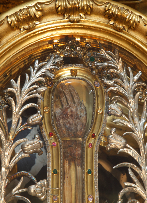 The hand of St Francis Xavier is seen in a reliquary at the Jesuits' Church of the Gesu in Rome. Relics of holy people have been venerated since early Christianity. (CNS photo/Paul Haring)