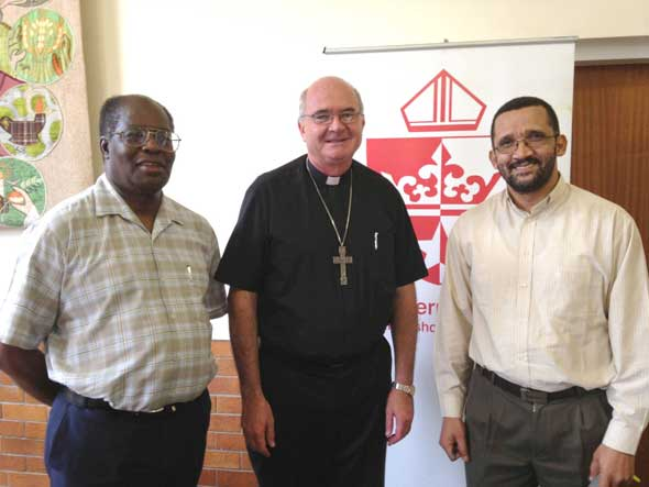 (From left) Archbishop Jabulani Nxumalo vice-president), Archbishop Stephen Brislin (president) and Bishop Sithembele Sipuka (second vice-president) at the conference.