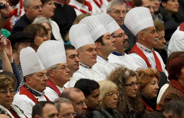 Cooks attend Pope Benedict's general audience in Paul VI hall at the Vatican. (CNS photo/Paul Haring)