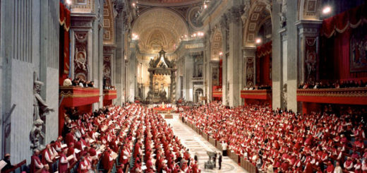 Bishops fill St. Peter's Basilica as Pope Paul VI presides over a meeting of the Second Vatican Council. (CNS photo/Catholic Press Photo)