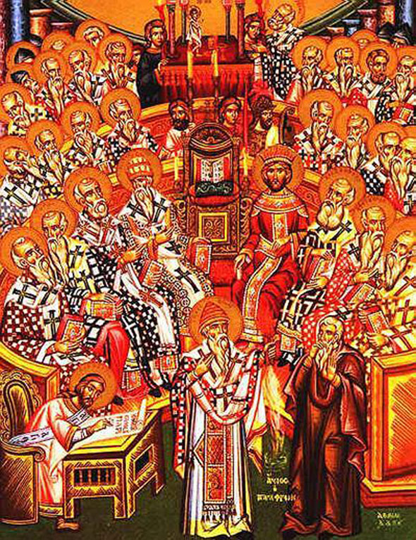 Nicea (325) met in reaction to Arius, who taught that God the Son could not be the Father's equal, because his existence came from the Father. The council confirmed that the Son is consubstantial with the Father and equal to him. Image courtesy of Wikipedia