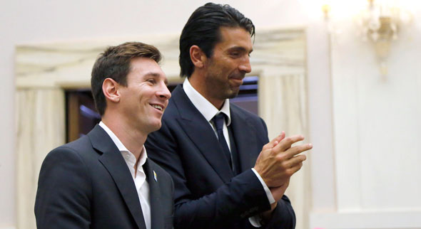 Lionel Messi and Gianluigi Buffon at the Vatican last August. They are among the Catholic World Cup stars. (Photo: Stefano Rellandini, Reuters/CNS)