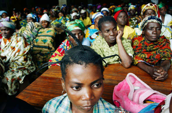 "Women, many of them victims of sexual violence, listen to a talk at Panzi hospital in Bukavu, South Kivu province, in eastern Congo, in this 2007 file photo. Systematic rape in Congo has been called a ""weapon of war,"" but after the latest hostilities ended in 2003, sexual violence continued to be a daily reality for Congolese women. (CNS photo/Reuters/Newscom)"