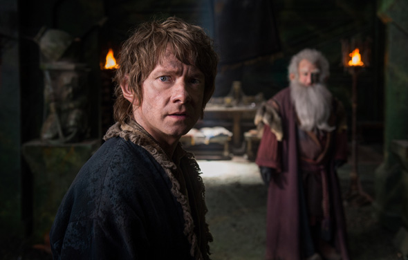 """Martin Freeman and Ken Stott star in a scene from the movie """"The Hobbit: The Battle Of The Five Armies."""" (CNS photo/Mark Pokorny, Warner Bros. Pictures)"""