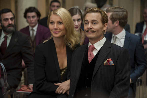 """Gywneth Paltrow and Johnny Depp star in a scene from the movie """"Mortdecai."""" (CNS photo/Lionsgate)"""