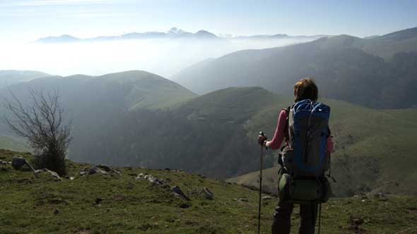 The film 'Camino' follows five pilgrims as they hike from southern France to Santiago de Compostela, Spain. The trek takes about 30 days. Santiago de Compostela is a famous Catholic pilgrimage site because what are believed to be the remains of St. James were discovered there. (CNS photo/courtesy CaminoDocumentary.org)