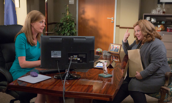 "Allison Janney and Melissa McCarthy star in a scene from the movie ""Spy."" (CNS photo/Fox)"