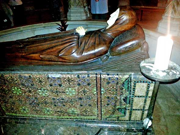 Mary fallen into eternal sleep: a life-size wood and ivory carving in Dormition Abbey, Jerusalem.