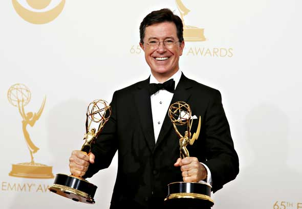 Stephen Colbert with the Emmys he won in 2013 for The Colbert Report. The popular talk show host wears his Catholic faith on his sleeve. (Photo: Lucy Nicholson, Reuters/CNS)
