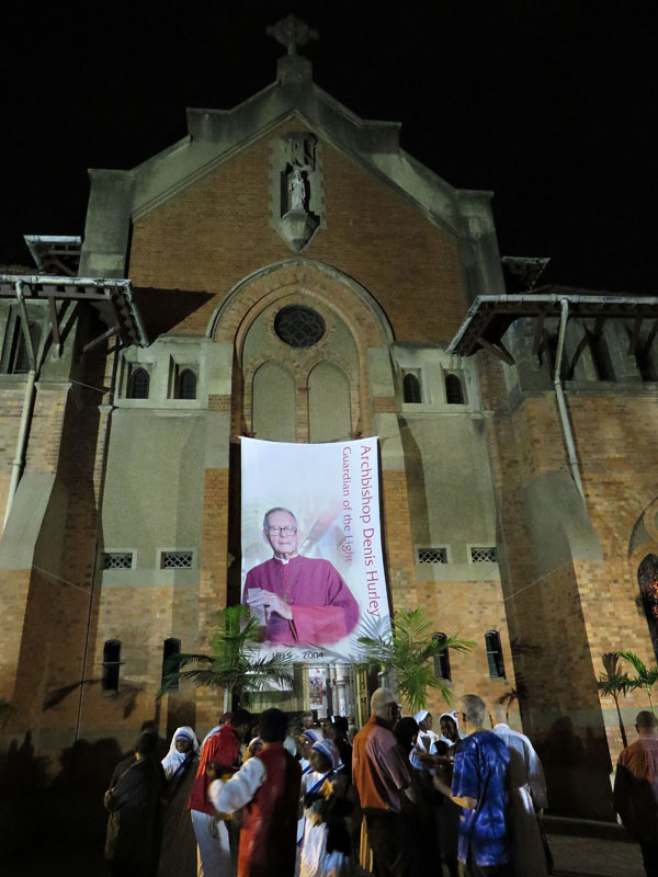 A banner depicting Archbishop Denis Hurley adorns the facade of Durban?s Emmanuel cathedral during the centenary celebrations of the late archbishop.