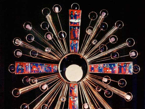 The Eucharist in a monstrance, used for adoration or benediction. (Photo:?Crosier/CNS)