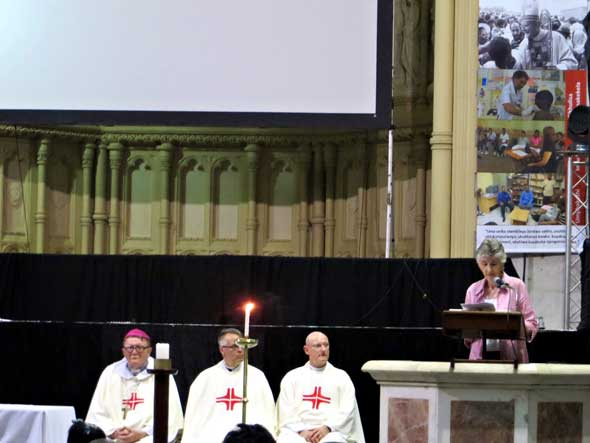 Sr Shelagh Mary Waspe preaches at the Saturday Mass as Bishop Barry Wood, Fr Kevin Randall and Fr Stephen Tully listen.