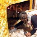 Nkhothatseng Lepheana touches the silver star that marks the spot of Jesus' birth. (All photos: Günther Simmermacher)