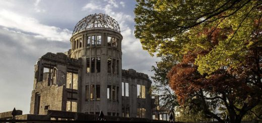 Hiroshima memorial site with remains of the Genbaku Dome which survived the atomic bomb blast although everyone inside was killed instantly.