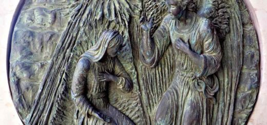 The Archangel Gabriel tells Mary about her role in the Incarnation on a relief outside the basilica of the Annunciation in Nazareth.