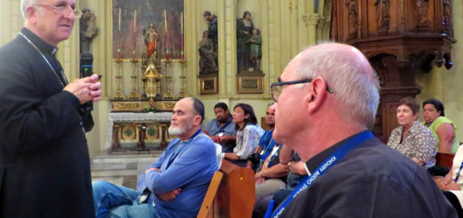 Bishop William Shomali, auxiliary bishop of the Latin Patriarchate of Jerusalem, adresses Archbishop Stephen Brislin of Cape Town and pilgrims in Jerusalem during The Southern Cross pilgrimage in 2014.