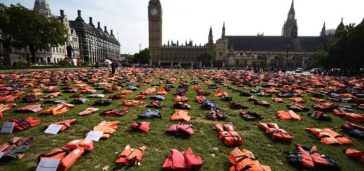 Life jackets worn by fleeing refugees lie in Parliament Square in London.  Offering migrants and refugees truly helpful and loving hospitality is the greatest guarantee against terrorism, Pope Francis said. (Photo: Andy Rain, EPA/CNS)