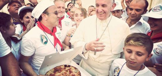 Pope Francis greets pizza makers from Naples during a pizza lunch for the poor after the canonisation of St. Teresa of Kolkata at the Vatican. Three thousand pizzas were served by Missionaries of Charity nuns and brothers to about 1,500 poor people who had come to the canonisation Mass from shelters, dormitories and soup kitchens the order runs throughout Italy. (CNS photo/L'Osservatore Romano)